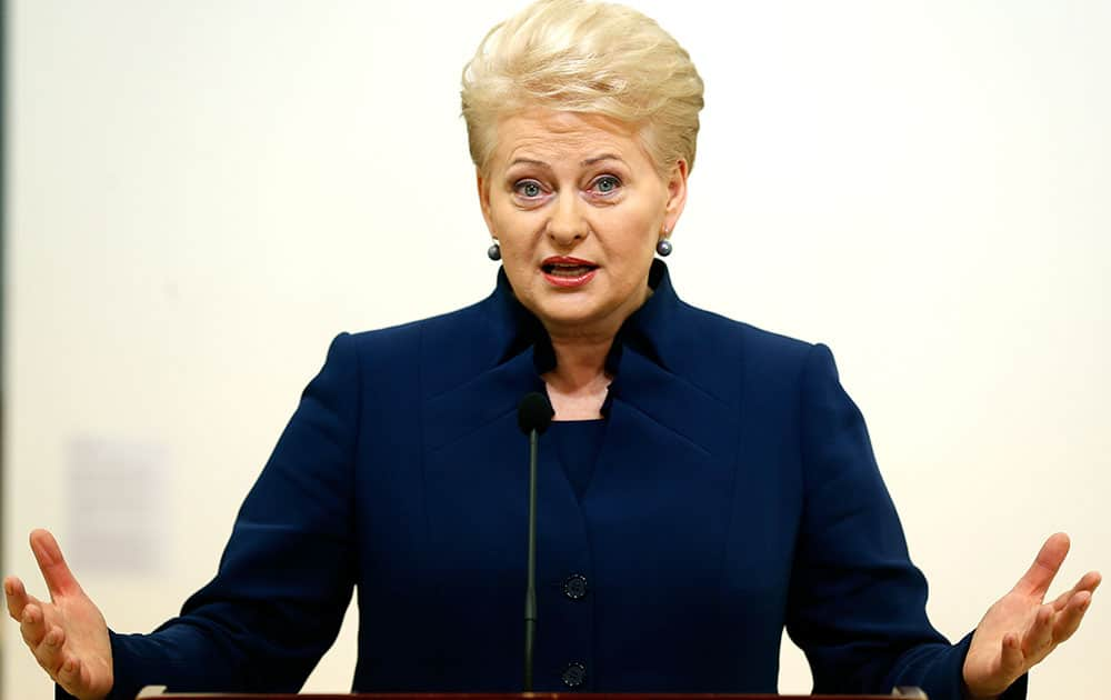Lithuania`s President Dalia Grybauskaite speaks to the media after winning the first round of the country`s presidential election, in Vilnius, Lithuania.