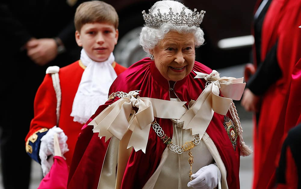 Britain`s Queen Elizabeth II arrives for the Order of the Bath Service at Westminster Abbey in London.