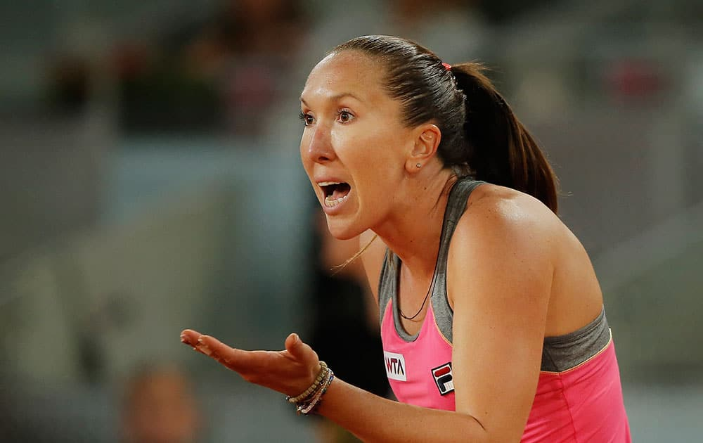 Jelena Jankovic from Serbia reacts during a Madrid Open tennis tournament match against Anastasia Pavlyuchenkova from Russia.