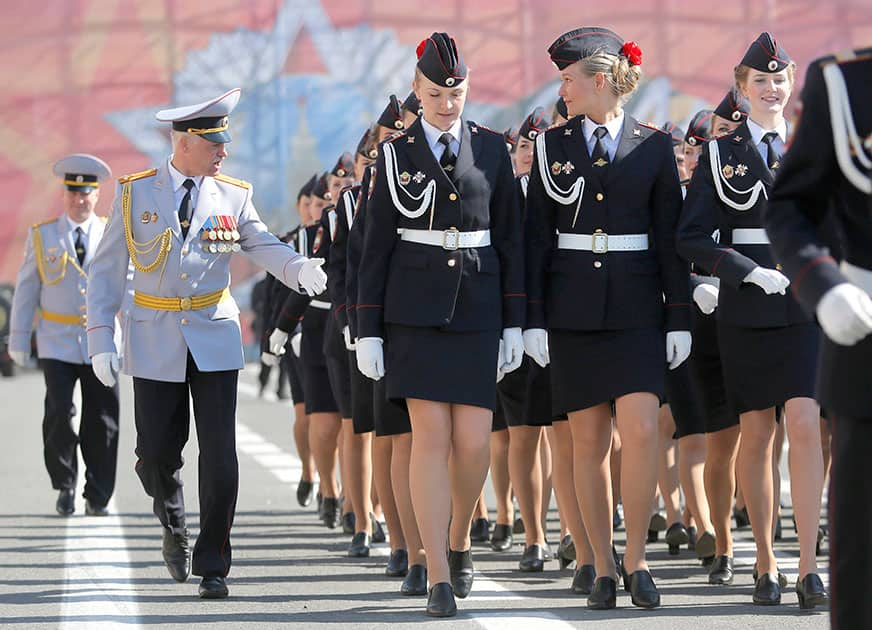 Russian Police academy female cadets march during a rehearsal for the Victory Day military parade at Dvortsovaya (Palace) Square in St Petersburg, Russia.