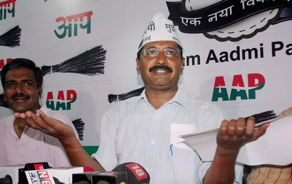 AAP convener Arvind Kejriwal during a press conference in Varanasi.