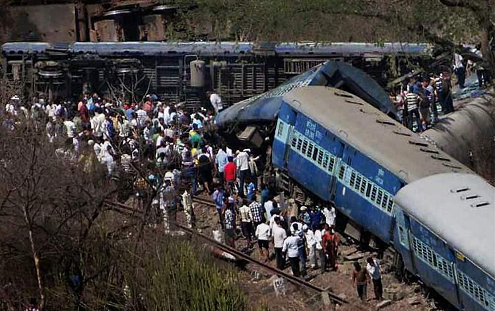 A scene of the derailed passenger train in agothane of Raigad district.