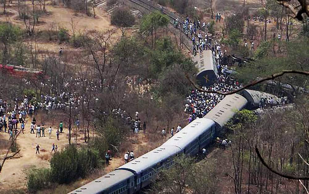 A scene of the derailed passenger train atNagothane in Raigad district.
