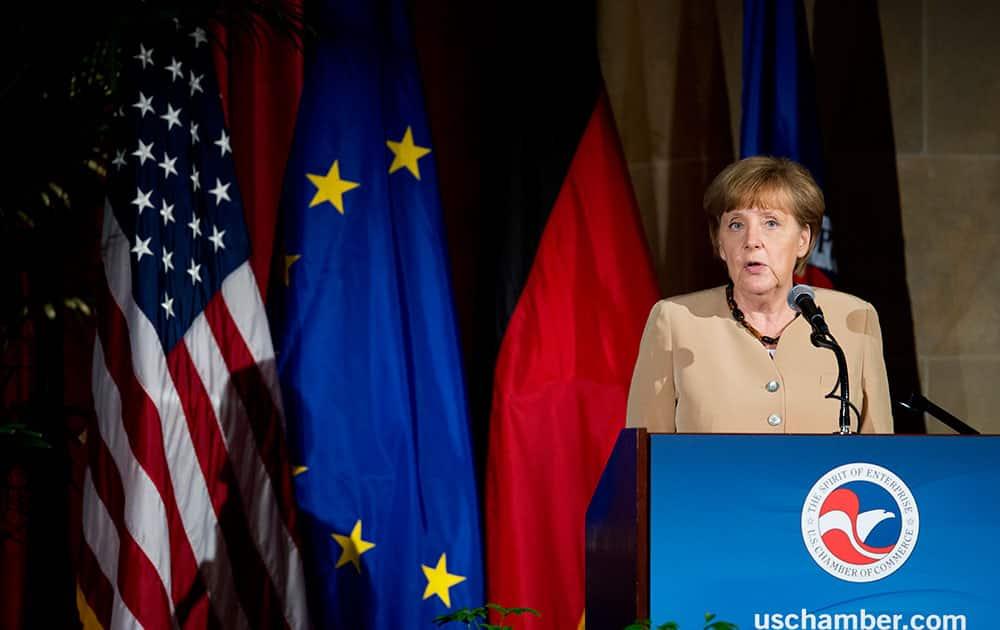 German Chancellor Angela Merkel speaks at the US Chamber of Commerce in Washington.