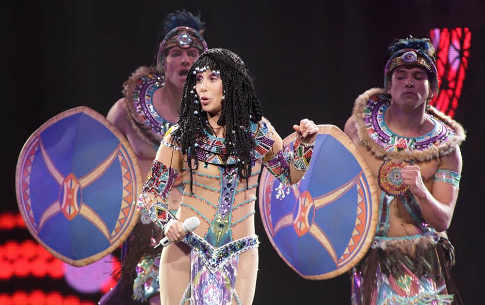 Cher performs in concert during her Dressed to Kill 2014 Tour at the Wells Fargo Center in Philadelphia.
