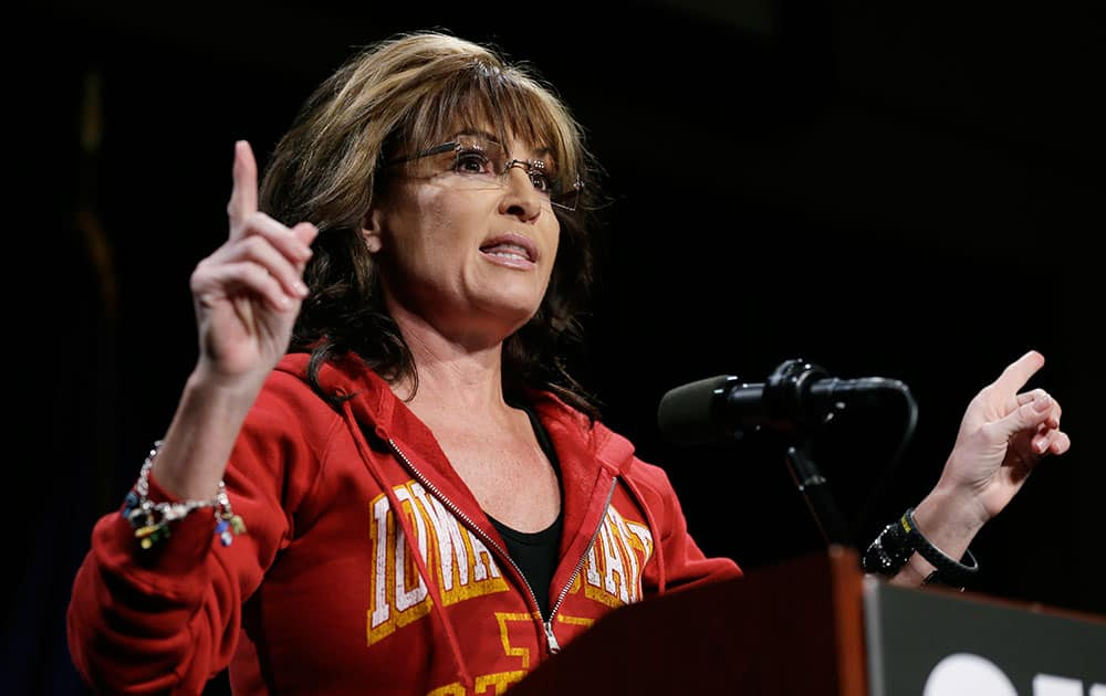 Former Alaska Gov. Sarah Palin speaks during a campaign rally for Iowa Republican Senatorial candidate Joni Ernst, in West Des Moines, Iowa.
