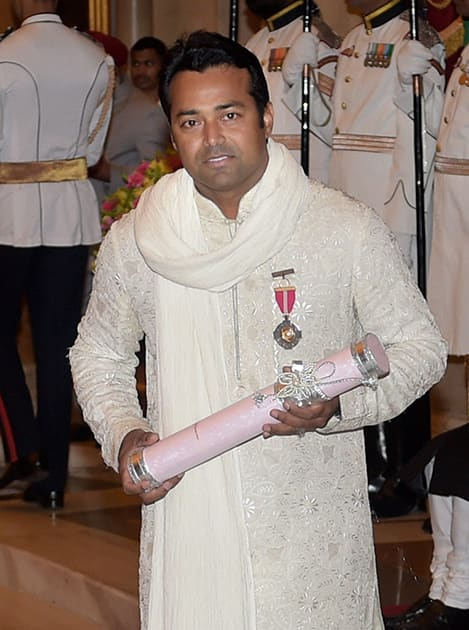 Tennis star Leander Paes after being honoured with Padma Bhushan during Padma Awards 2014 function at Rashtrapati Bhavan in New Delhi