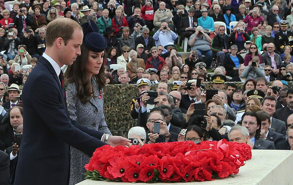 Britain`s Prince William and Kate, the Duchess of Cambridge lay a wreath at the cenotaph of the Australian War Memorial on Anzac Day in Canberra, Australia.