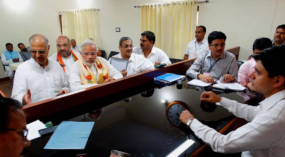 BJP Prime Ministerial candidate Narendra Modi filing his nomination papers in Varanasi.