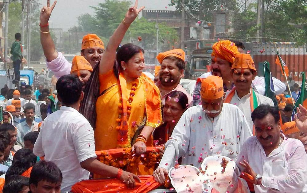 BJP candidate Smriti Irani at a roadshow before filing her nomination papers for Lok Sabha polls in Amethi.