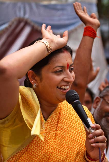 India`s main opposition Bharatiya Janata Party (BJP) candidate Smriti Irani speaks at an election rally in Amethi, India.