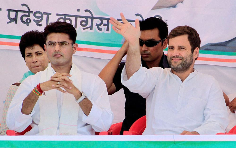 Congress Vice President Rahul Gandhi with Congress candidate from Ajmer Sachin Pilot during an election campaign rally in Karauli district , Rajasthan.