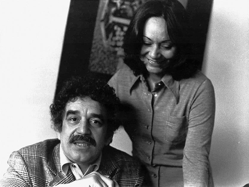 In this 1975 photo released by the Fundacion Nuevo Periodismo Iberoamericano (FNPI), Colombian author Gabriel Garcia Marquez sits with wife Mercedes Barcha at an unknown location.