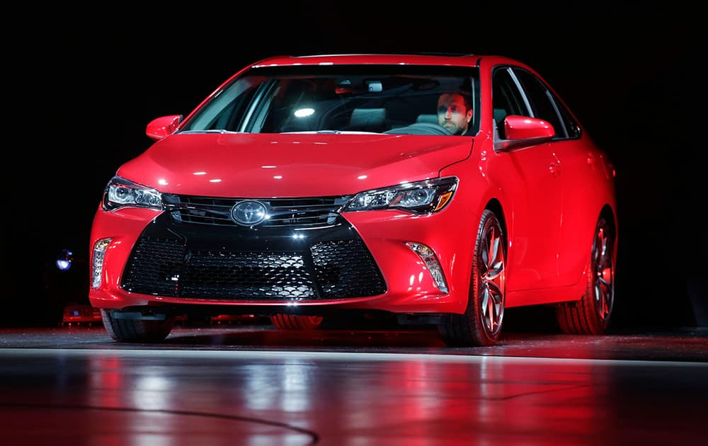 The 2015 Toyota Camry is introduced at the New York International Auto Show.