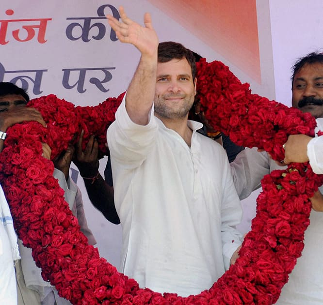 Congress vice president Rahul Gandhi is garlanded at an election campaign rally in Kishanganj.