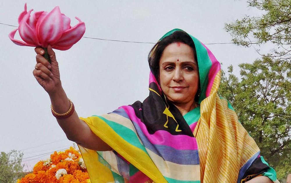 Actress & BJP candidate Hema Malini during her an election campaign in Mathura.