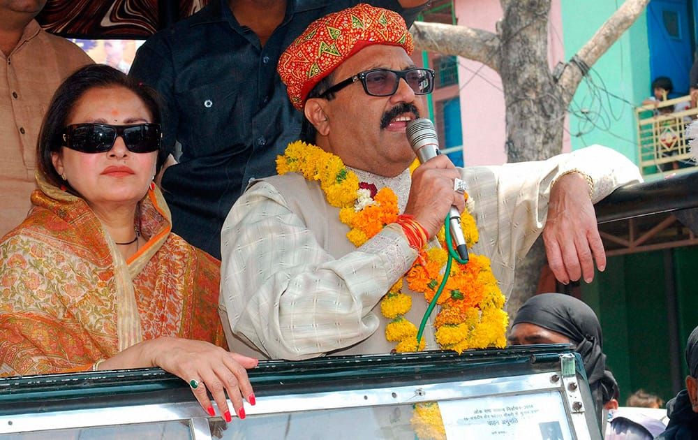 RLD candidate from Fatehpur Sikri Amar Singh during an election roadshow with party leader and actress Jaya Prada in Fatehpur Sikri.