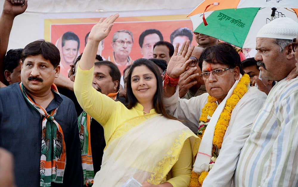 Bollywood actress and Congress leader Nagma during an election meeting in Bhopal.
