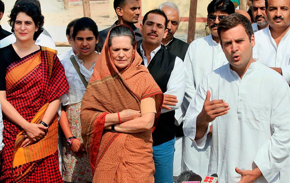 Congress Vice President and party candidate from Amethi, Rahul Gandhi with his mother and Congress President Sonia Gandhi talking to the media after he filed his nomination papers, in Amethi.
