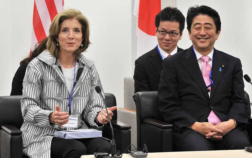 US Ambassador to Japan Caroline Kennedy, left, speaks after her inspection of a magnetic levitation train system at the Yamanashi Experiment Center in Tsuru.