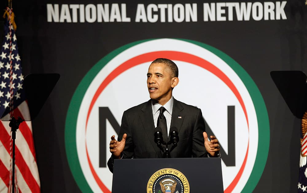 President Barack Obama speaks at Al Sharpton`s National Action Network conference in New York.