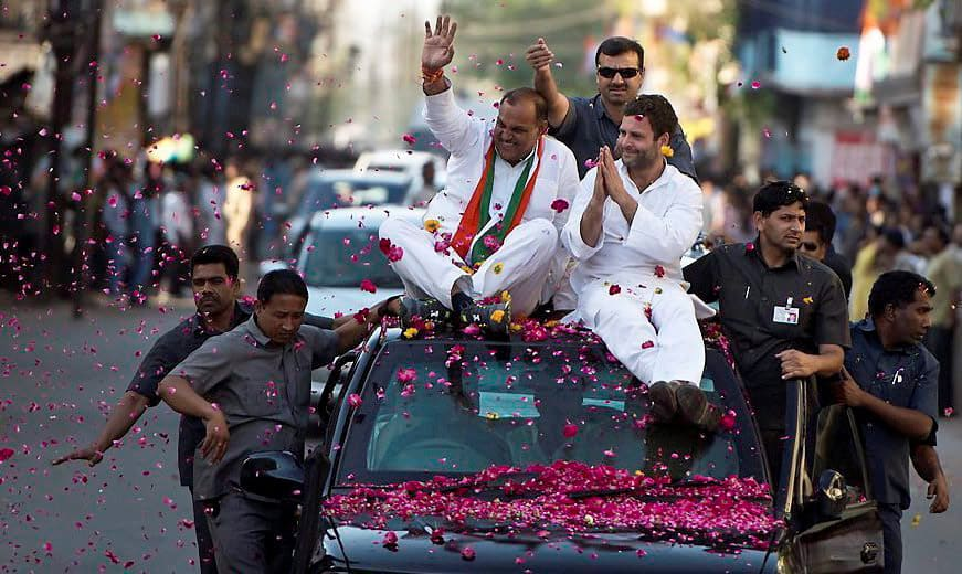 Congress vice president Rahul Gandhi during a roadshow in Gwalior.