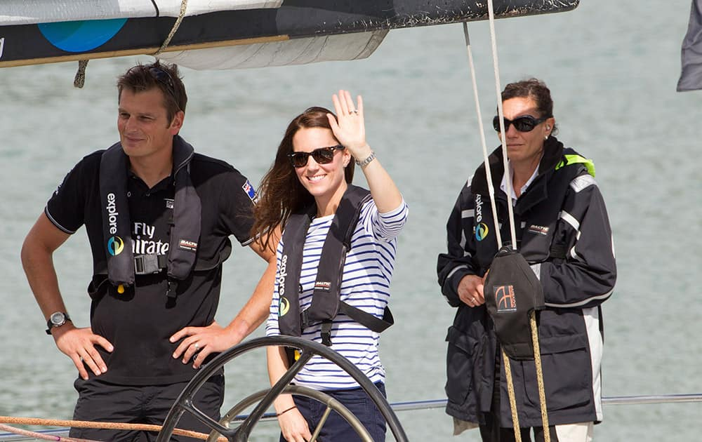 Britain`s Kate, the Duchess of Cambridge, prepares to go match-race sailing on America`s Cup yachts with Skipper Dean Barker, in Auckland, New Zealand.