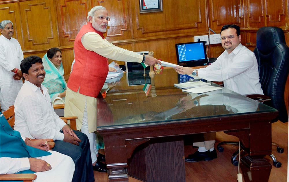 BJP prime ministerial candidate Narendra Modi filing his nomination papers for the Lok Sabha elections 2014 in Vadodara.