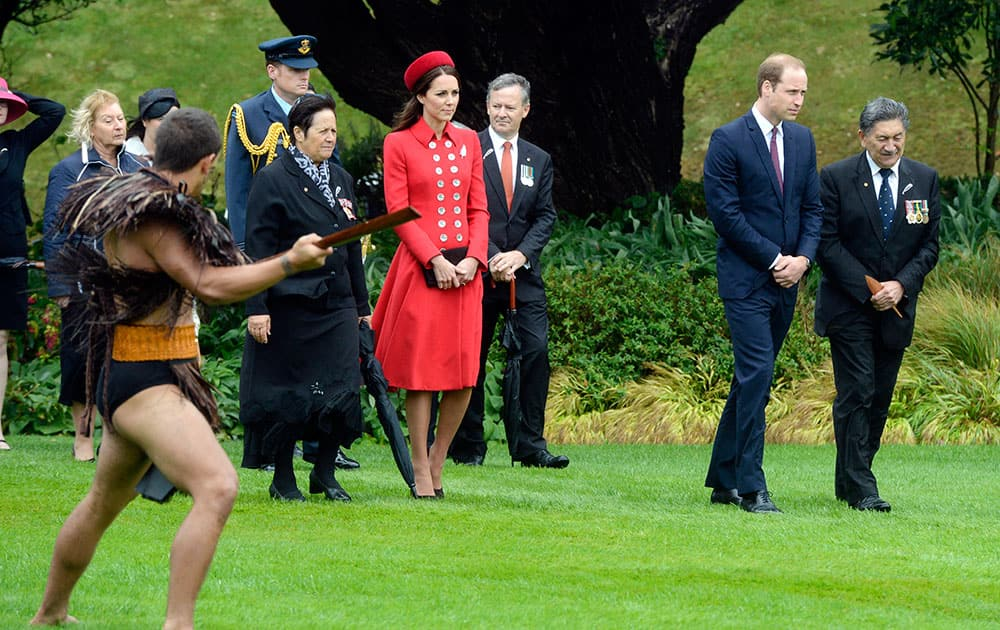 Britain`s Prince William and his wife Kate, the Duchess of Cambridge receive a Maori powhiri at their official welcome ceremony at Government House, in Wellington, New Zealand.
