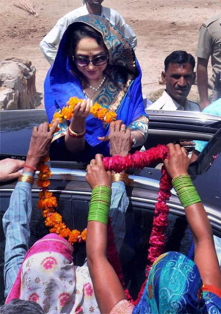 Bollywood Actress & BJP Candidate Hema Malini during an election campaign in Baldev near Mathura.