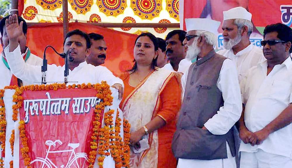 UP CM and Samajwadi Party leader Akhilesh Yadav addresses an election rally in Sambhal.