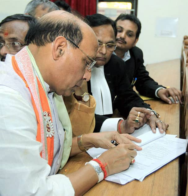 BJP President Rajnath Singh filing his nomination papers in Lucknow.