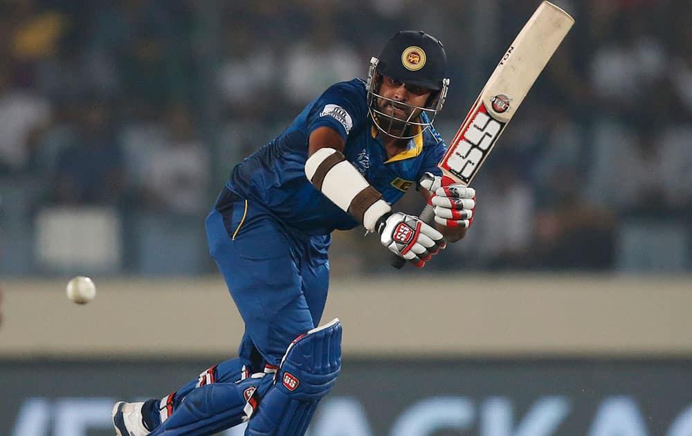 Sri Lanka`s batsman Lahiru Thirimanne plays a shot during their ICC Twenty20 Cricket World Cup semi-final match against West Indies` in Dhaka.