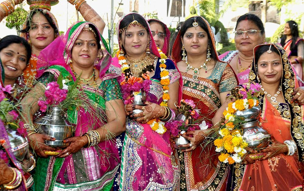 Newly married women during Gangor festival celebrations in Beawar.