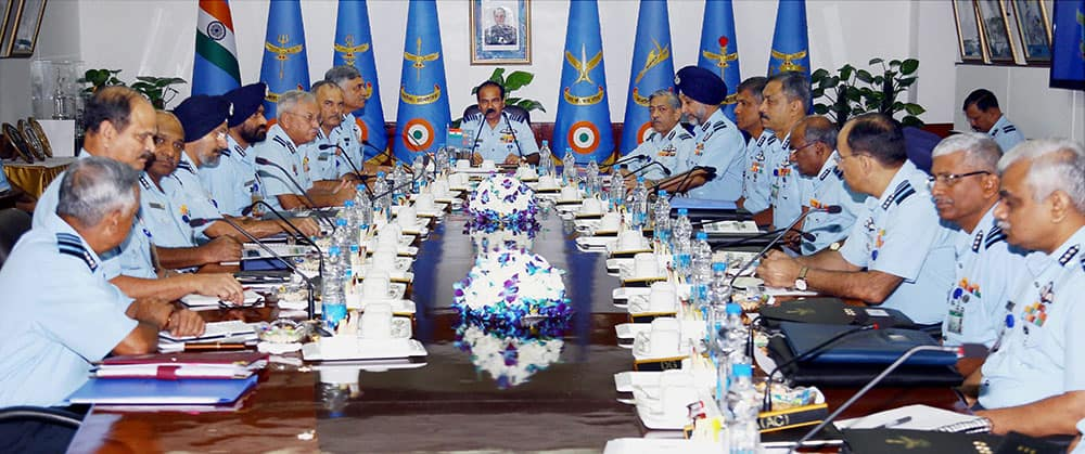 Air Chief Marshal Arup Raha addressing the Air Force Commanders during the Air Force Commanders' Conference in New Delhi.