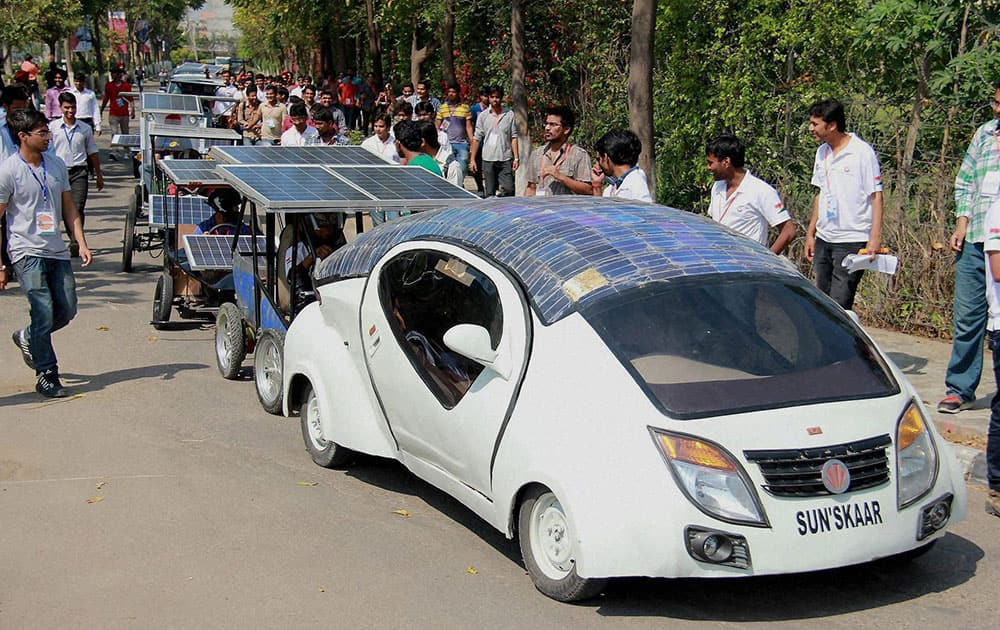 Students of various universities participate in Asia`s biggest Electric-Solar Vehicle Car rally in Jalandhar.