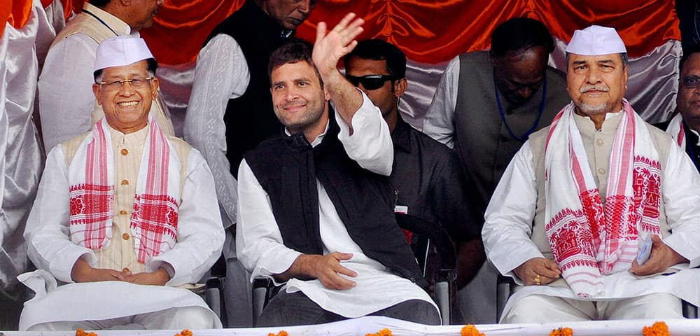 Congress Vice President Rahul Gandhi along with Assam Chief Minister Tarun Gogoi at an election rally at Biswanath Chariali in Sonitpur district.