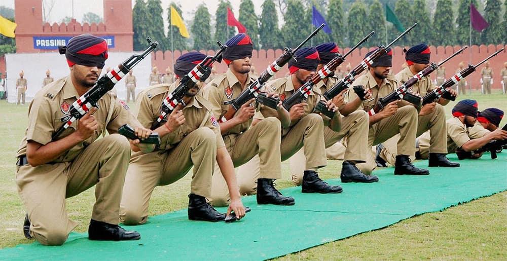 Newly recruited Punjab police jawans during their passing out parade in Jalandhar.