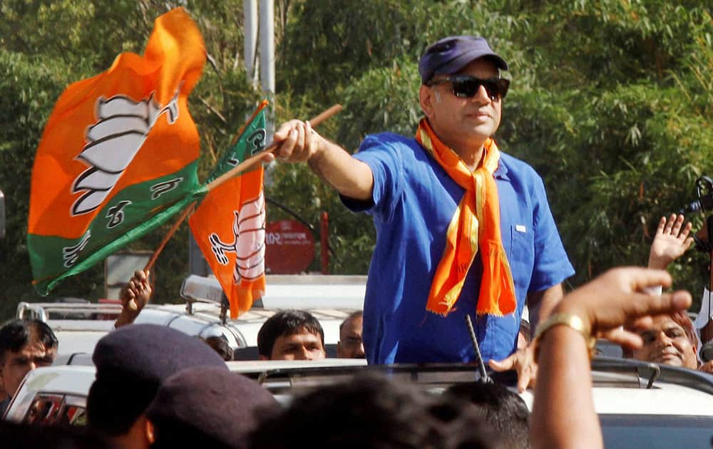 Actor and BJP candidate Paresh Raval during his election campaign in Ahmedabad.