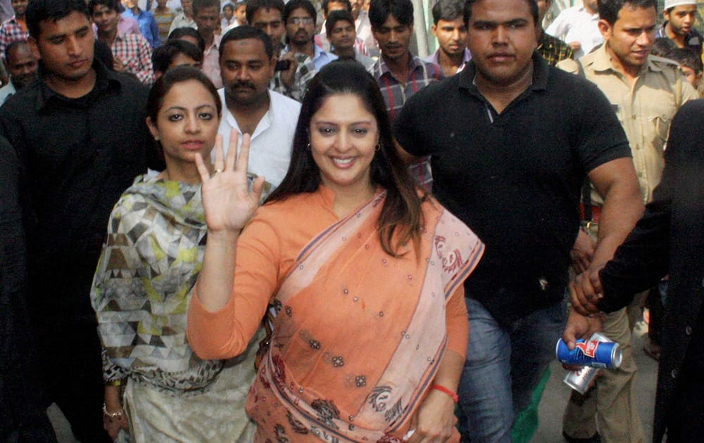Congress candidate Nagma during her election campaign.