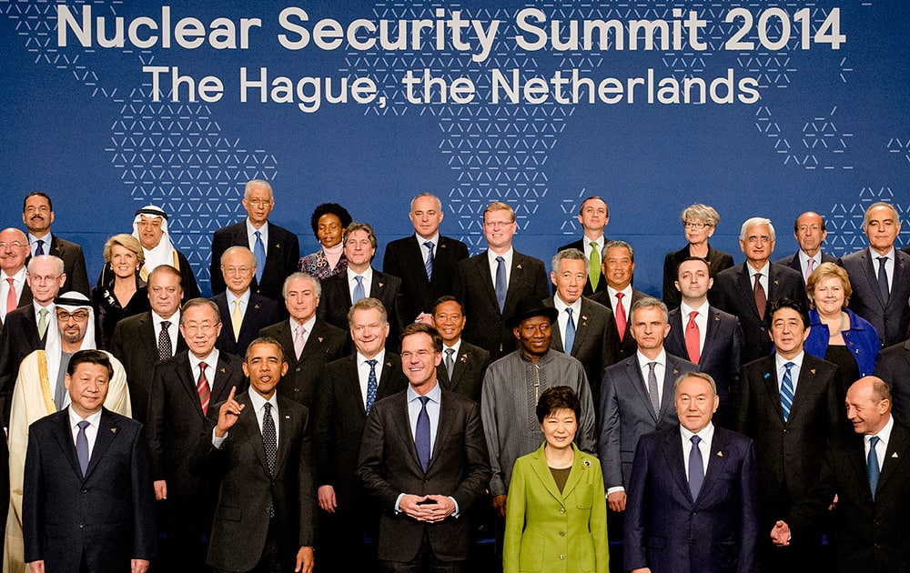 World leaders with US President Barack Obama gesturing, pose for a family photo on the last day of the Nuclear Security Summit (NSS) in The Hague, Netherlands.