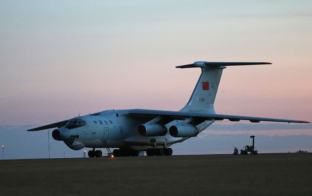 Two Chinese Ilyushin IL-76s aircraft sit on the tarmac at RAAF Pearce base ready to join the search missing Malaysia Airlines flight MH370 in Perth, Australia.