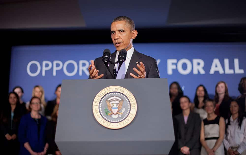 President Barack Obama speaks during his visit to Valencia College in Orlando, Fla.