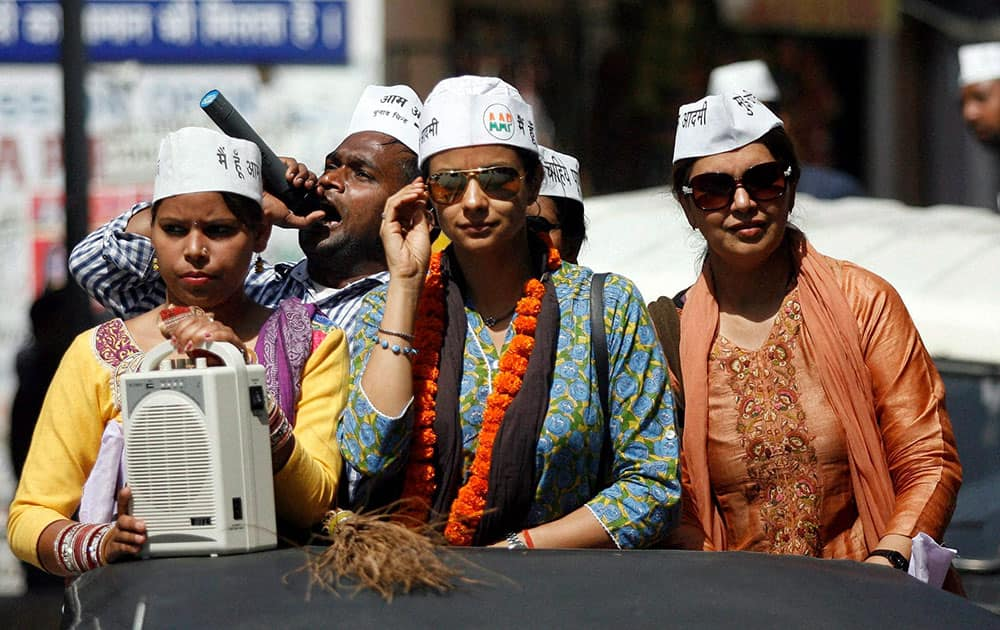 Aam Aadmi Party candidate Gul Panag during her election campaign in Chandigarh.
