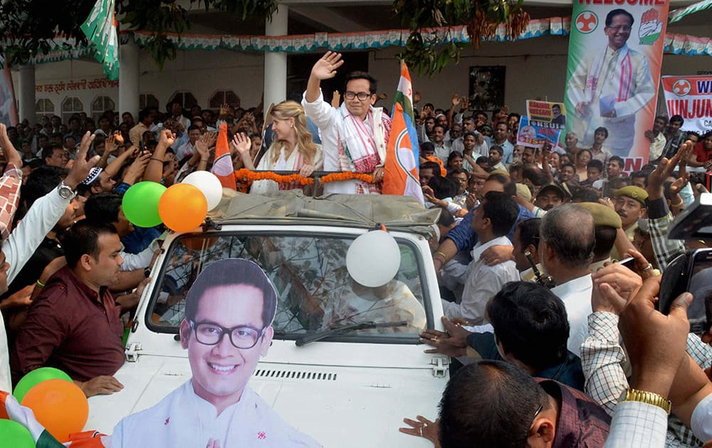 Congress candidate from Koliabor constituency Gaurav Gogoi leaves along with supporters after filing his nomination papers in Nagaon.