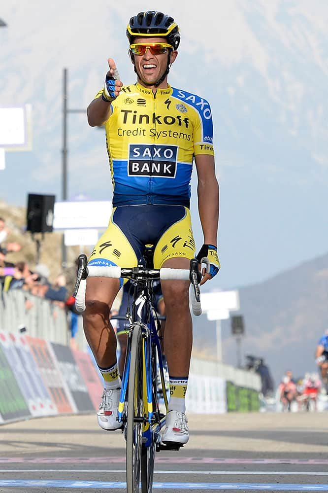 Spain`s Alberto Contador celebrates as he wins the fourth stage of the Tirreno Adriatico cycling race, in Selvarotonda, Italy.