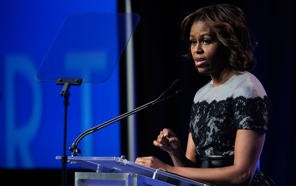 First lady Michelle Obama speaks at the Building a Healthier Future Summit in Washington.
