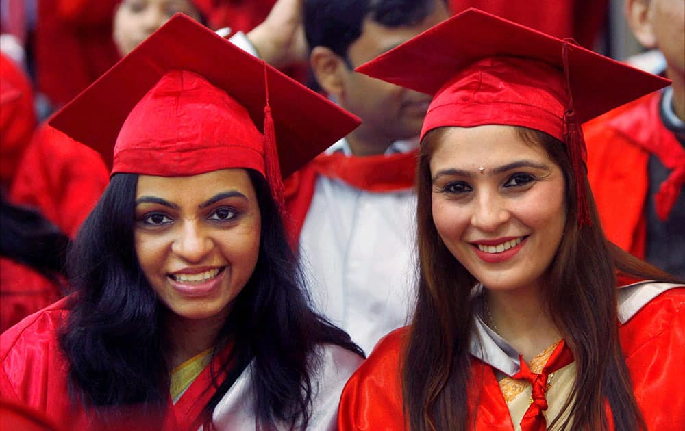 Students at the 91st annual convocation of the Delhi University in New Delhi.