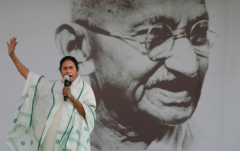 Chief Minister of West Bengal state and Trinamool Congress leader Mamata Banerjee addresses an election rally in New Delhi.
