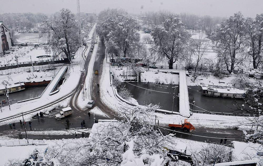 A view of Srinagar after heavy snowfall.